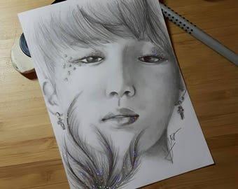 Jimin BTS Pencil Fanart (+ glitter accents)