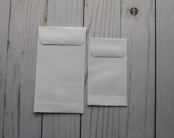"""25 White Envelopes Gummed Flap for gift cards, business cards, tags, seeds, coins[ 2.5"""" x 4.25"""" OR 3 1/8"""" x 5 1/2""""]"""