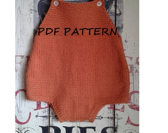 Baby Romper Knitting Pattern Douro / Baby Knitting Patterns / Baby Onesie Jumpsuit Playsuit / 0-3 Months / 3-6 Months / 6-12 Months