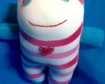 Handmade Baby Child Sock Doll with Heart