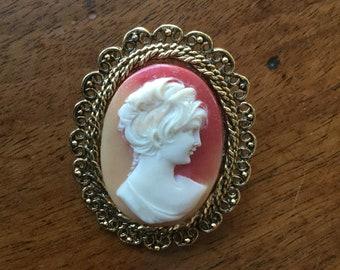 Vintage Victorian Revival Plastic Cameo Pin