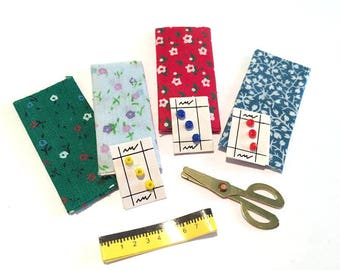 Miniature Sewing Set  1:12 Scale Material Buttons Scissors and Tape Dollhouse Miniatures - 337