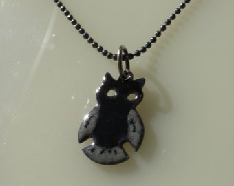 Black and Grey Enamel Owl Pendant