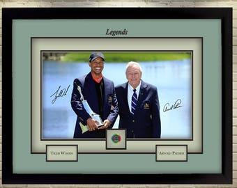 New Tiger Woods Arnold Palmer signed autograph Legend Golf Memorabilia Framed