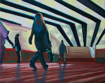 Oil painting abstract -Metro Station-