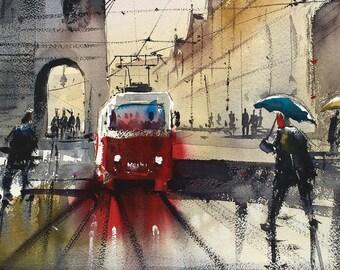 Prag's old tram watercolor painting art print