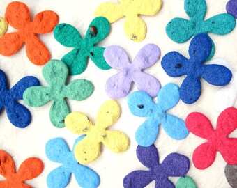 200 Confetti Seed Paper Flowers - Orange Yellow Lilac Teal Green Blue and More - Plantable Flower Seed Paper Wedding Favors - Hydrangea
