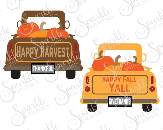 Antique Truck Cut File Fall SVG October Pumpkin Vintage Clipart Svg Dxf Eps Png Silhouette Cricut Commercial Use From
