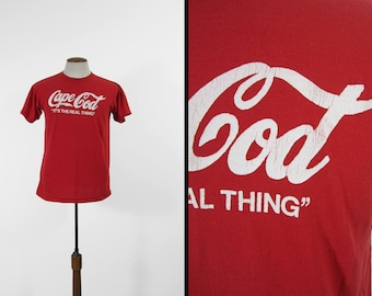 Vintage Cape Cod T-shirt The Real Thing Coke Red Soft and Thin 5050 Tee - Large