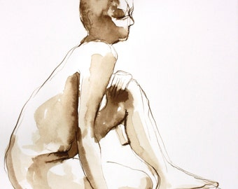 Original Ink Figure Drawing, Female Nude Leaning on One Knee, Dessin de Nu, Sepia Toned Art, Original Work on Paper -