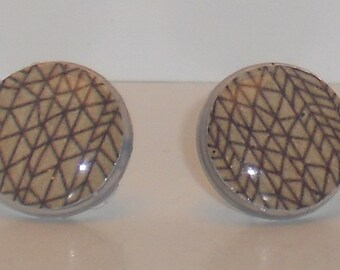 Brown Triangles Post Earrings