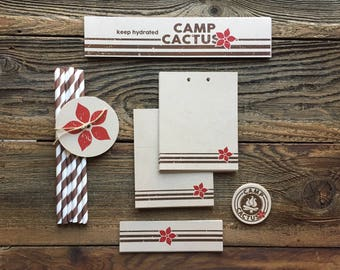 Refreshments, Camp Cactus Flower, Camp Theme Party, Campout Outdoor Party - Food and Drinks - Tags, Paper Straws, Bottle Label