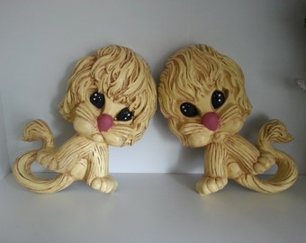 Kitsch Upcycled Vintage Homco Gold Lions 1970's