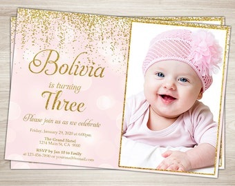 Pink and Gold First Birthday Party Invitation, Gold Glitter, One, Blush Pink Confetti 1st Birthday Photo invitation
