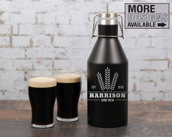 Personalized Beer Growler, 64oz Growler, Engraved Insulated Growler, Beer Lover Gift, Home Brew Gear, Craft Beer Lover, Gift For Husband