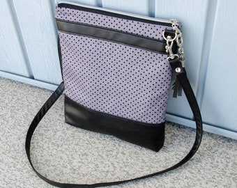 Polka Dot Crossbody Bag/ Sling Bag / Purse / Gray and Black / Ready to Ship