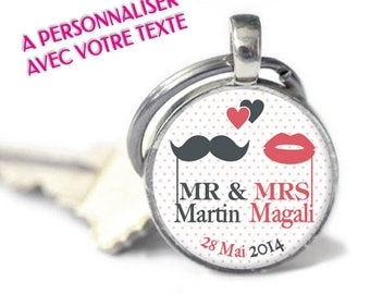 "Keychain - model ""Wedding - Mr & Mrs"" (customizable Keychain)"