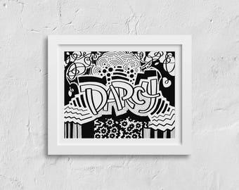 Darcy - Abstract Desktop Wallpaper, Digital Download, Print at Home, Custom Graffiti Art, Coloring Page, Names Project