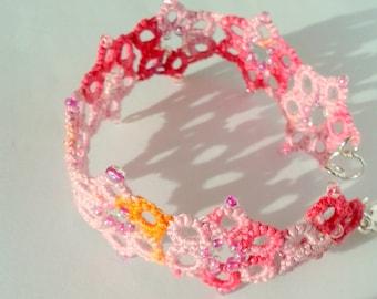 Pink magnolia bracelet tatted