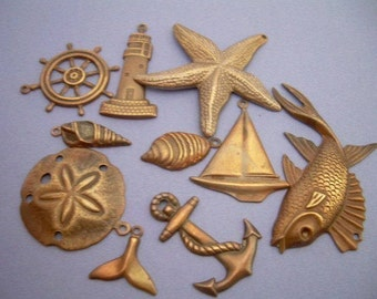 10 Assorted Antique Brass Sea Nautical Charms