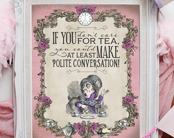 Mad Hatter Tea Party Poster / Pink / INSTANT DOWNLOAD / Alice in Wonderland / Pastel / Birthday / Baby Shower / Printable Sign / Decoration