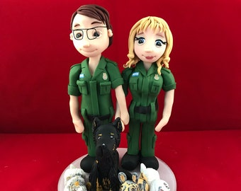 personalised Wedding Cake Topper bride and groom figures in uniform - Paramedic/Nurse/Ambulance
