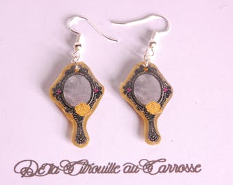 Earrings vintage, black and gold mirror