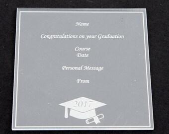 Clear Acrylic Personalised Graduation Plaque Cap Square Certificate Congratulations Son Daughter Friend School University College