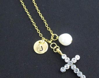 Cross Necklace First Communion Necklace,Baptism Gift Initial Cross Necklace little gril jewelry,Christian Faith Necklace,Free Shipping USA