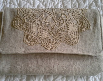 Natural Linen and Vintage Doily Clutch