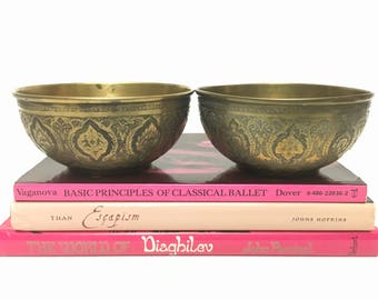 Vintage Pair of Etched Brass Bowls - Gold Metal Bohemian Moroccan Indian Style Home Decor