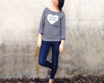Mama Bear with Heart Heather Grey Sweatshirt with White print - Family Photos, Gift for Mom, Gift for her