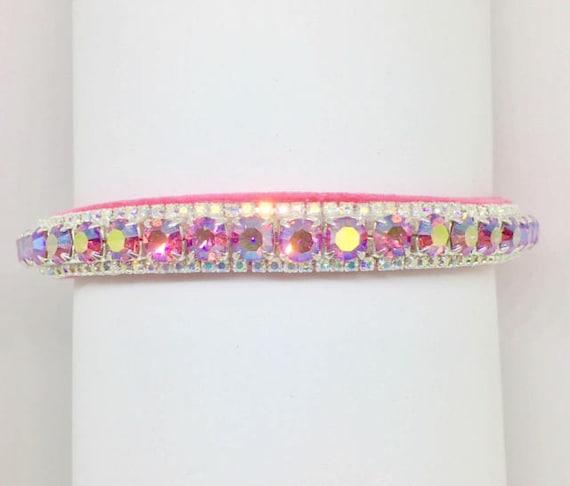 Cutie Pie Pet Collars TM ~Pink Fire & Rainbow~ Crystal Diamond Diamante Rhinestone Pet Dog Cat VELVET Collar + Free Charm  USA