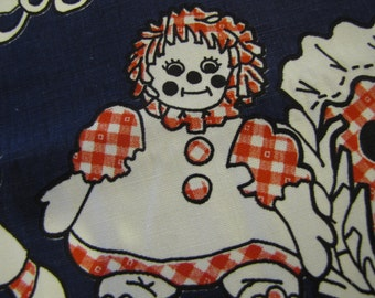 1970's Raggedy Ann Fabric, Raggedy Ann and Andy, 1970s Fabric, Juvenile Fabric, Raggedy Ann Fabric, Red, Navy, Decorator Weight