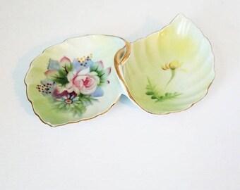 Lefton Double Leaf Porcelain Dish