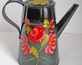 Country Painted Coffee Pot with Connecticut design