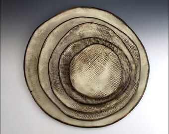 Set of 5 NESTED PLATTERS plates dishes | distressed burlap texture, cream shino glaze, black clay, brown pattern, uniquely one-of-a-kind set