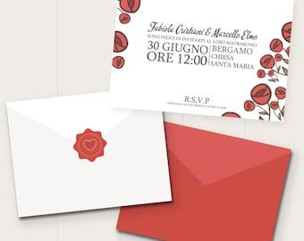 Invitations de mariage a augmenté | Roseraie | Rouge | Rouge | Mariage romantique | nature | Invitations fleurs | Invitation | fleurs