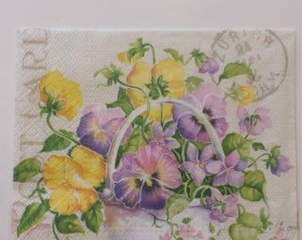 Decoupage Paper Napkins, Floral Napkins, Lunch Napkin, Pansies, Collage, Craft, Scrapbooking, Paper Craft, Serviette, Decoupage Tissue