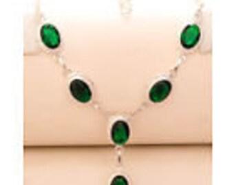 Green Tourmaline gemstone 925 Sterling Silver Necklace 16-18