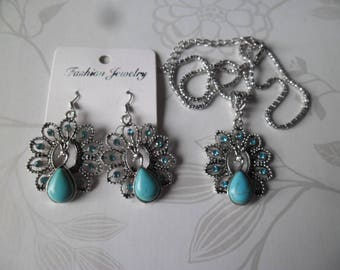 x 1 set necklace/earrings turquoise peacock blue silver 48 cm