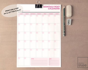 Monthly Post Calendar Printable//A4 & Letter Size//Organiser//Printable Monthly Schedule//Instant Download