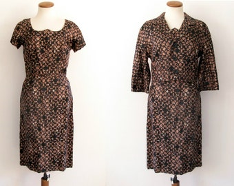 50s brown dress -  vintage mid century black geometric circle tiki sweetheart neckline cropped jacket belt set retro pinup wiggle fit