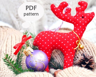 Reindeer Sewing Pattern. Christmas Sewing Projects. Deer Sewing Pattern. Christmas Sewing Pattern. Christmas Ornament Pattern. Deer Pattern