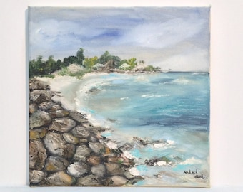SEA VIEW -Original oil painting ,one of a kind dream vacation place,turquoise sea