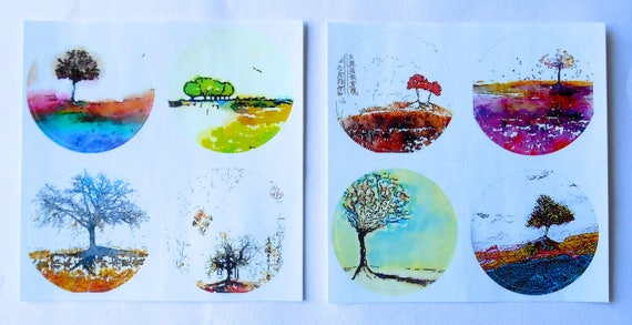 NEW *** ROUND Fine Art Stickers - A few of my favorite Trees