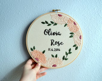 Custom Name Embroidery Hoop - Modern Floral Baby Name, Nursery Art, Hand Embroidered Needlepoint, Round Wildflower Name Sign, Baby Shower