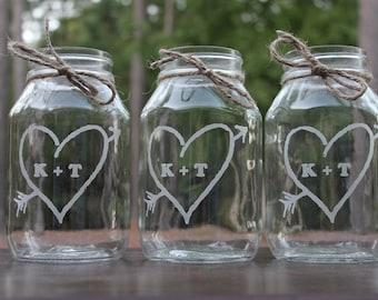 3 Quart Mason Jar,  Wedding Center Piece, Engraved, mason jars, Personalized Wedding Vases, Wedding Keepsake,