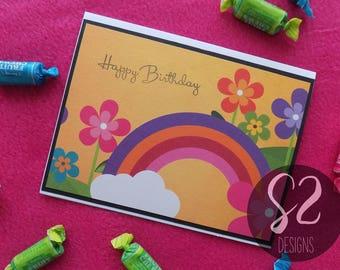 Handmade Rainbow Birthday Card