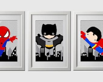 set of 6 superhero bedroom prints , shipped to your door,  SUPERHERO wall art  decor high quality PRINTS, set of 6, 8x10 inch prints
